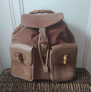 Gucci Brown Suede Bamboo backpack